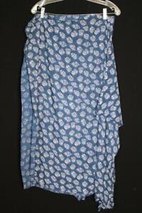 "VINTAGE FRENCH 1950'S BLUE RAYON PRINT FABRIC 35"" W X  6 YD LENGTH"
