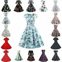 Women Vintage Prom Ball Gown Birthday Party Short Sleeve Retro Swing Maxi Dress