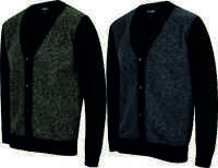 MENS WOOL LOOK CARDIGAN BUTTON UP V NECK WARM FASHION BLACK BLUE SIZE S-XXL NEW