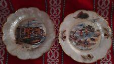 2 assiettes Nacre GRUISSAN 2 platos nácar signé unico superbe Perlmutt-Gerichte