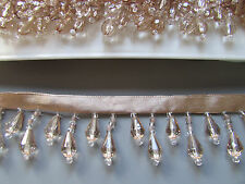 Gold/Champagne Beaded Fringe/Trim TOP QUALITY 45% GLASS  Costume/Crafts/Corsetry