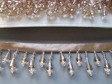 ORO/CHAMPAGNE Frangia con Perline/finitura di alta qualità 45% di vetro Costume/Artigianato/Corsetteria