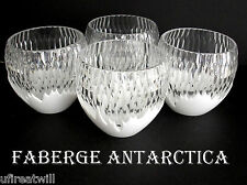 4 Faberge Glacon Antarctica Opal Cased Cut To Clear Crystal Whiskey Rocks Signed