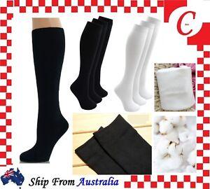 Cotton Long School Knee High Black White Navy Blue Socks Men Women Boys Girls