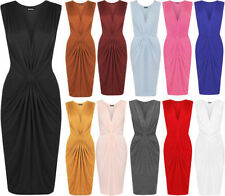V-Neck Patternless Dresses for Women with Ruched