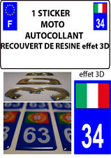 1 sticker plaque immatriculation MOTO DOMING 3D RESINE ITALIE DEPARTEMENT 34
