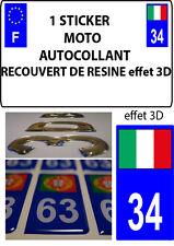 1 sticker plaque immatriculation MOTO DOMING 3D RESINE ITALIE DEPARTEMENT 34