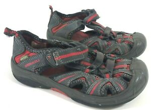 MERRELL Hydro Boys 12 Sandals Waterproof Leather Gray Red