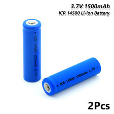 ICR 14500 Battery 3.7V 1500mAh Li-ion Rechargeable Cell For Camera Torch 2Pcs 8