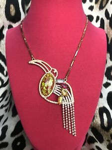 Betsey Johnson Paradise Lost Toucan Tropical Bird Red Opal Pink Crystal Necklace