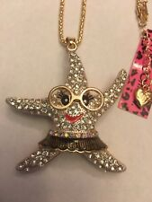 Betsey Johnson WHITE STARFISH W-FACE AND GLASSES necklace-BJ14650