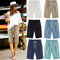 Womens Cotton Linen Baggy Shorts Knee Pants Length Ladies Summer Beach Casuall