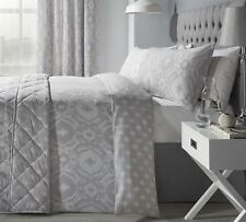 INTRICATE PAISLEY-STYLE SILVER GREY COTTON BLEND SUPER KING DUVETCOVER&BEDSPREAD