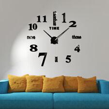 Modern DIY 3D Large Number Mirror Art Clock Wall Sticker Big Watch Home Decor UK