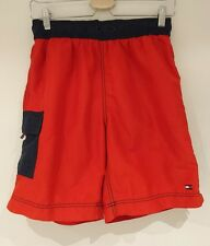 Tommy Hilfiger Men's Red & Navy Swim Shorts size S Mesh Lining 90s Retro