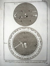 GRAVURE 18 EME  HORLOGERIE CADRATURE DE LA PENDULE D EQUATION DE JULIEN LE ROY