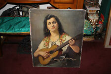 Original Edith Morehouse Signed Oil Painting-Gypsy Woman Playing Guitar-LARGE