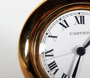 Gold-plated Cartier desk clock Round shape french vintage