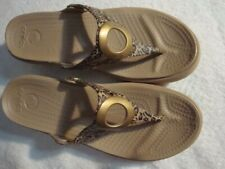CROCS CIRCLE WEDGE FLIP FLOP SANDALS TAN W/LEOPARD PRINT WOMENS SIZE 7