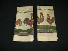 2 COLORFUL ROOSTER WINDOW PANELS CLEAN  SIZE 30 W X 35.5  L