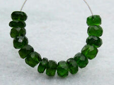 Natural Dark Green Chrome Diopside Faceted Rondelle Gemstone Beads (11040)