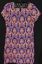 DOTTI Short Sleeve Patterned Blue Peach Summer Beach Bright Dress Size 6