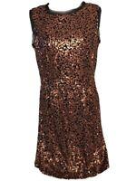 Jessica Simpson Gold Bronze Black Sleeveless Sequin Sparkle Cocktail Dress Sz 4