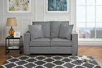 Modern Loft Lounge Linen Fabric Sofa, Small Space Loveseat Couch (Light Grey)