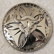 Classic Belt Buckle Southwestern Circular Wheel Silver Tone Spinner Bull Head Bb