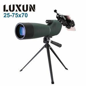 LUXUN 25-75X70 HD Waterproof Mobile Phone BAK4 Zoom Lens Monocular Telescope
