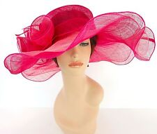 New Church Derby Wedding Party Sinamay 2 Layers Dress Hat 1765 Hot Pink & Pink