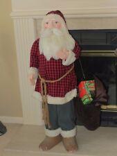 "Vintage 42"" Store Display Primitive Santa Claus w/ Paper Mache Head & Hands"