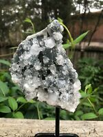Apophyllite Zeolite Crystal Cluster Geode (On a stand) -1lb 4oz-