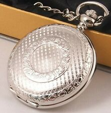 LOOOK! Silver Plated Pocket Watch 12Mth Wty + Chain KP8