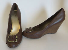 Fioni Brown Leather Wedges Buckle Front Size 8