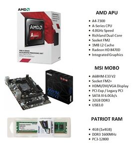 AMD A4-7300 4.0GHz APU  +  MSI A68HM-E33 V2 MOBO  +  PATRIOT 4GB 1600MHz RAM