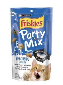 Purina Friskies Party Mix Cat Treats Beachside Crunch  4 - 2.1 Oz Pouches.