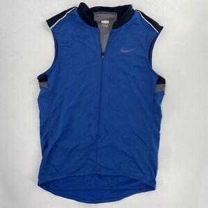Nike Mens L FitDry Cycling 1/2 Zip Bike Jersey Shirt Sleeveless Blue Pockets
