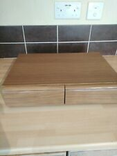 Vintage / Retro 2 Draw Wood Effect  Cassette Tape Storage Box  - Holds 40 TAPES