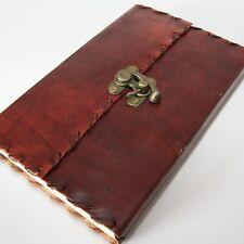Lederbuch mit Bügel Schloss Kladde Notizbuch Tagebuch Buch Leder 23 x 14 cm Gr.3