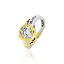 Silver Gold Plated 1.07 Cz Cts Yellow & White Engagment Wedding Ring Sterling