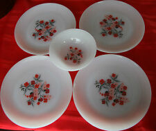 """4 Vintage Fire King Oven Ware Primrose 7 3/8"""" Plates & 1 Berry Bowl Never Used!"""