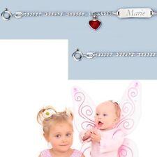Echt Silber 925 Baby Geburt Taufe Ident Armband mit rotem Herz und Namen Gravur