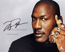 MICHAEL JORDAN CHICAGO BULLS RINGS AUTOGRAPHED SIGNED 8X10 PHOTO RP