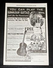 1923 OLD MAGAZINE PRINT AD, FIRST HAWAIIAN CONSERVATORY OF MUSIC, PLAY GUITAR!
