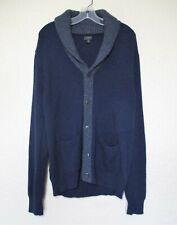 J Crew Cardigan Sweater Medium Men dark blue gray wool blend
