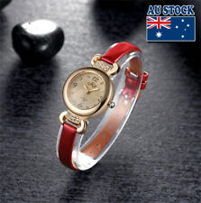 Classy Elegant Rhinestone Dial Thin Slim Faux Leather Wrist Red  Women's Watch