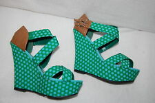 "Womens PLATFORM WEDGES 5"" High Heels GREEN w/ BLUE DOTS Strappy Open Toe SZ 8.5"