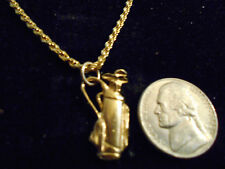 bling GOLD plated golf club game FASHION JEWELRY pendant charm chain necklace GP