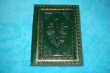 VINTAGE LEATHER BOOK COVER FROM ITALY - GREEN - FLEUR DE LIS - EMBOSSED